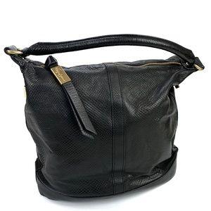 Foley + Corinna Black Embossed Leather Hobo Bag